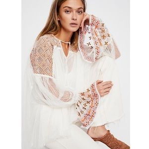 FREE PEOPLE | Joyride Sheer Embroidered Top